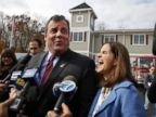 PHOTO: New Jersey first lady, Mary Pat Christie, laughs as husband, Republican New Jersey Gov. Chris Christie, jokes with the media after they voted in Mendham Township, N.J. on Nov. 5, 2013.
