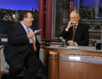PHOTO: In this photo released by CBS Broadcasting, New Jersey Gov. Chris Christie, left, chats with David Letterman, right, during his first visit to CBS? ?Late Show with David Letterman,? on Monday, Feb. 4, 2013 in New York.
