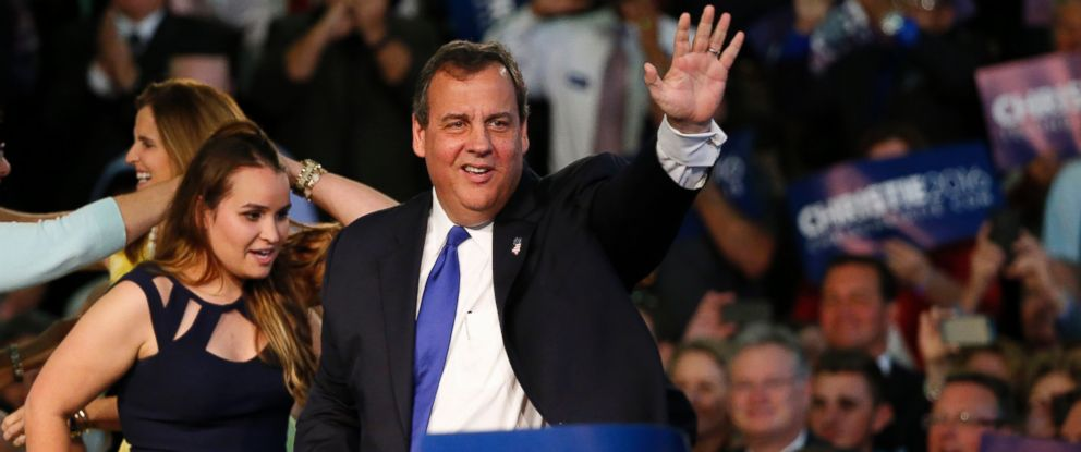 PHOTO: New Jersey Gov. Chris Christie arrives to speak to supporters during an event announcing he will seek the Republican nomination for president, June 30, 2015, at Livingston High School in Livingston, N.J.