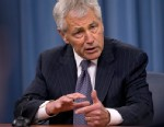 Defense Secretary Chuck Hagel gestures as he speaks during a news conference at the Pentagon, Friday, May 17, 2013, to discuss sexual assaults in the military and the promotion of Lt. Gen. Curtis
