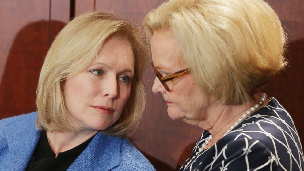 PHOTO: Sen. Kristen Gillibrand and Sen. Claire McCaskill hold a news conference about new legislation at the U.S. Capitol Visitors Center July 30, 2014 in Washington, DC.