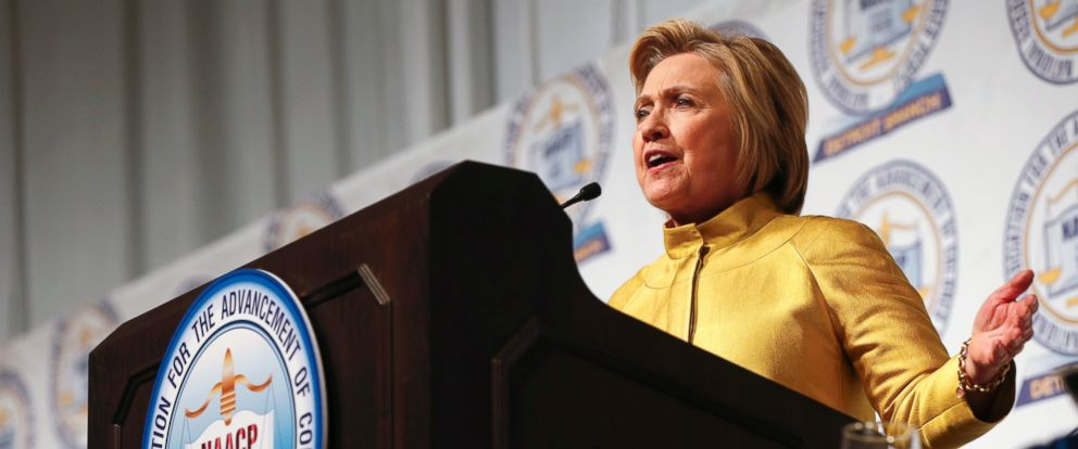 PHOTO: Democratic presidential candidate Hillary Clinton speaks at the NAACPs 61st annual Fight for Freedom Fund dinner in Detroit, Sunday, May 1, 2016.
