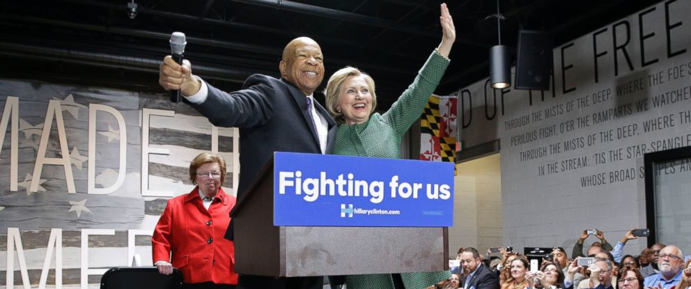 PHOTO: Democratic presidential candidate Hillary Clinton, right, embraces Rep. Elijah Cummings, D-Md., after being endorsed by him during a campaign event at City Garage in Baltimore, Sunday, April 10, 2016.