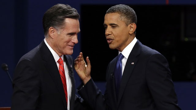 PHOTO: Republican presidential nominee Mitt Romney and President Barack Obama talks after the first presidential debate at the University of Denver, Wednesday, Oct. 3, 2012, in Denver.