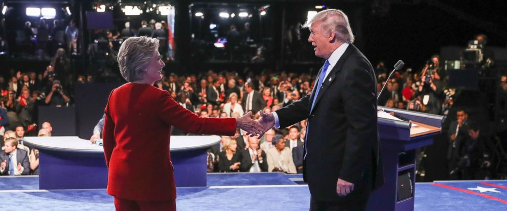 PHOTO: Democratic presidential nominee Hillary Clinton shakes hands with Republican presidential nominee Donald Trump after the presidential debate at Hofstra University in Hempstead, N.Y., Sept. 26, 2016.