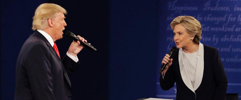 PHOTO: Donald Trump and Hillary Clinton debate at Washington University in St. Louis, Oct. 9, 2016.