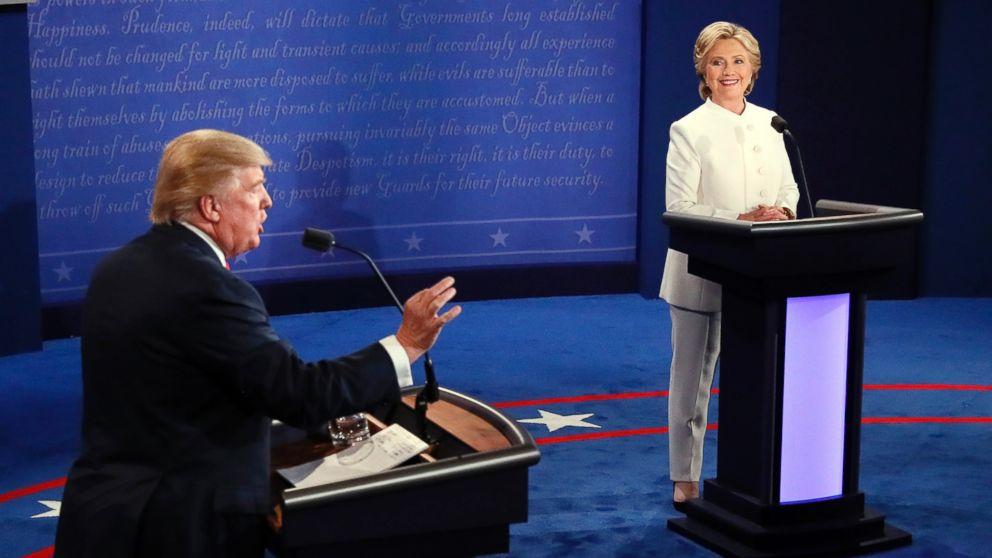 PHOTO: Donald Trump debates Hillary Clinton during the third presidential debate at UNLV in Las Vegas, Oct. 19, 2016.