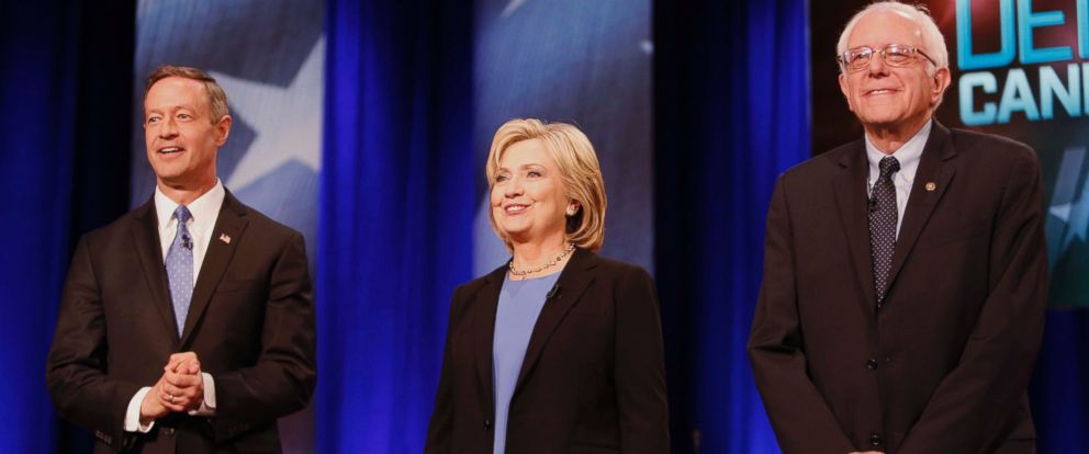 PHOTO: Democratic presidential candidates former Maryland Gov. Martin OMalley, Hillary Clinton and Sen. Bernie Sanders before the start of the NBC, YouTube Democratic presidential debate at the Gaillard Center on Jan. 17, 2016, in Charleston, S.C.