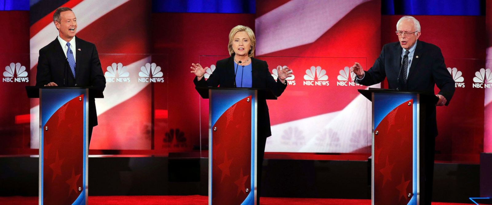 PHOTO: Democratic presidential candidates former Maryland Gov. Martin OMalley, Hillary Clinton, and Sen. Bernie Sanders during the NBC, YouTube Democratic presidential debate at the Gaillard Center on Jan. 17, 2016, in Charleston, S.C.