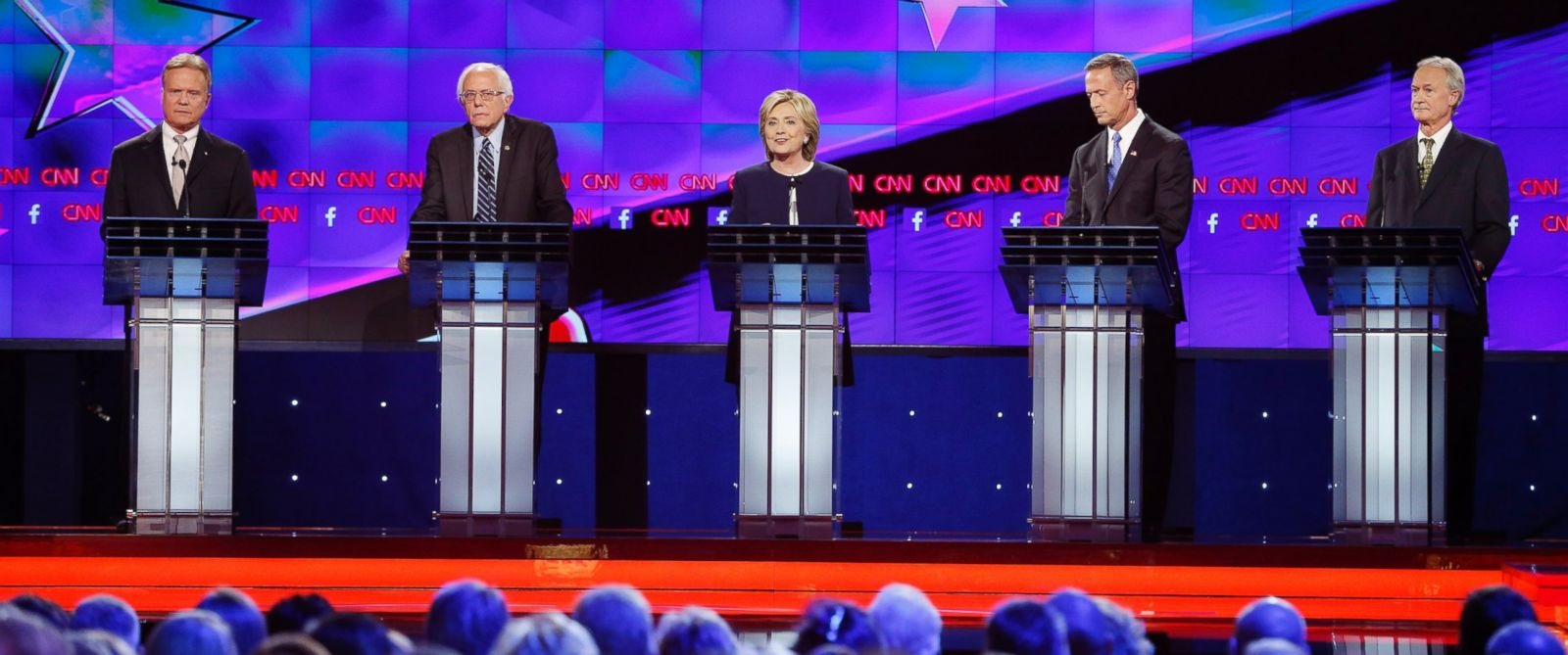 PHOTO: Democratic presidential candidates from left, former Virginia Sen. Jim Webb, Sen. Bernie Sanders, of Vermont, Hillary Rodham Clinton, former Maryland Gov. Martin OMalley, and former Rhode Island Gov. Lincoln Chafee before the Democratic debate.
