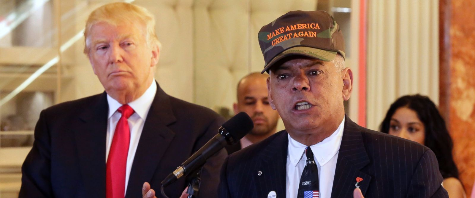 PHOTO: In this May 31, 2016, file photo, Republican presidential candidate Donald Trump listens at left as Al Baldasaro, a New Hampshire state representative, speaks during a news conference in New York.