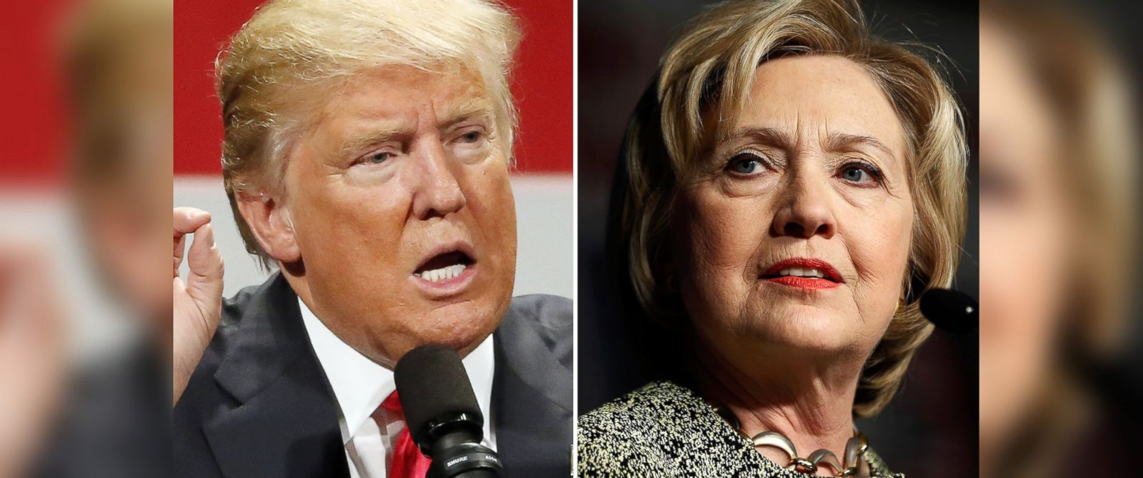 PHOTO: Donald Trump speaks in Milwaukee on April 4, 2016 and Hillary Clinton speaks in Philadelphia on April 6, 2016.