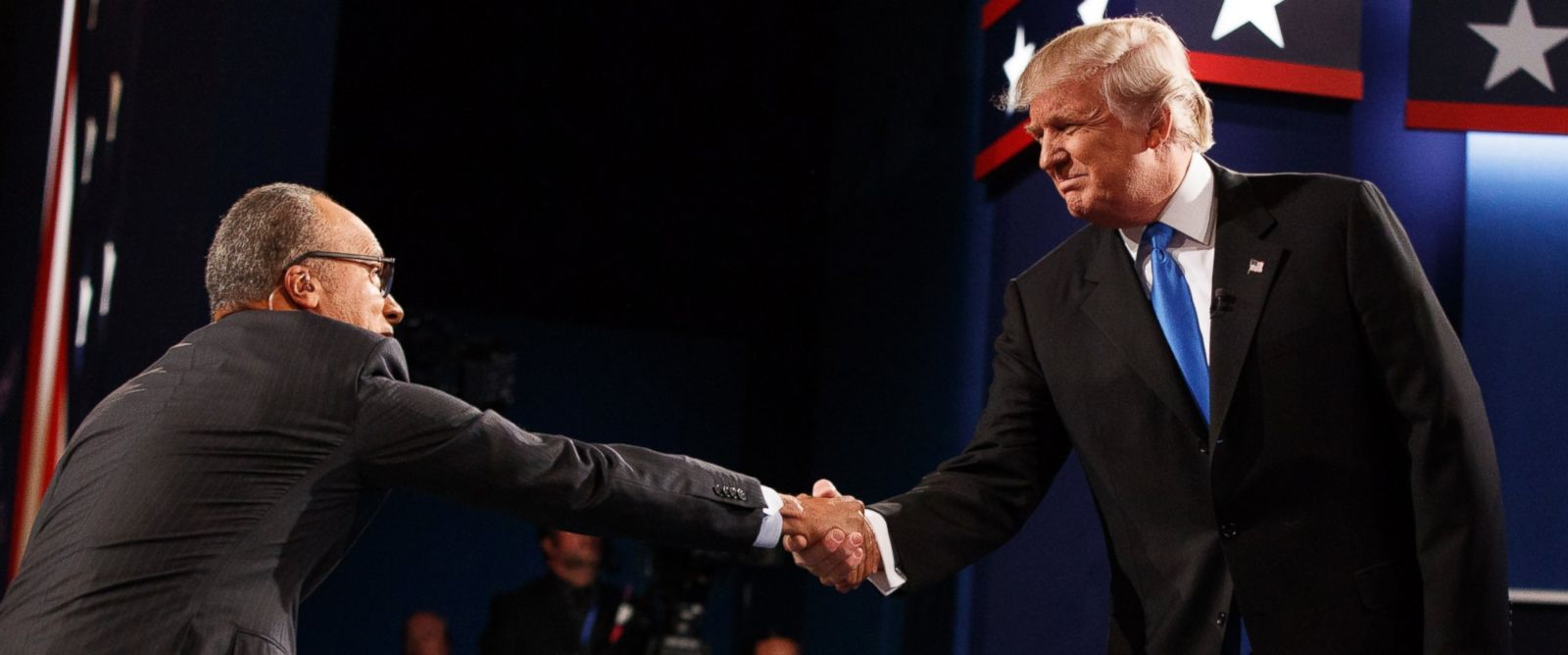 PHOTO: Republican presidential candidate Donald Trump shakes hands with moderator Lester Holt during the first presidential debate at Hofstra University, Sept. 26, 2016, in Hempstead, N.Y.