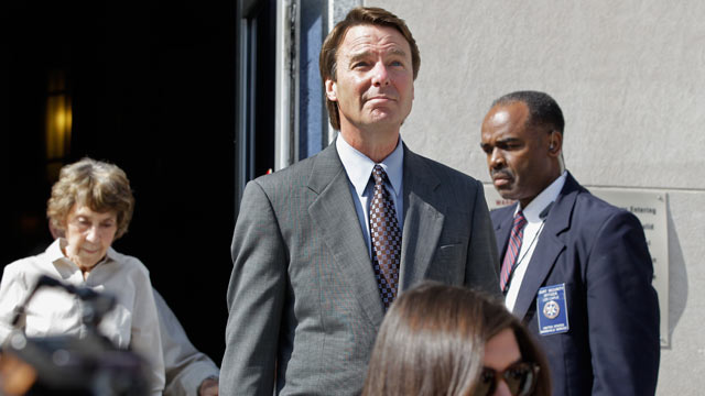 PHOTO: Former presidential candidate and Sen. John Edwards, center, leaves a federal courthouse in Greensboro, N.C., Monday, May 7, 2012.
