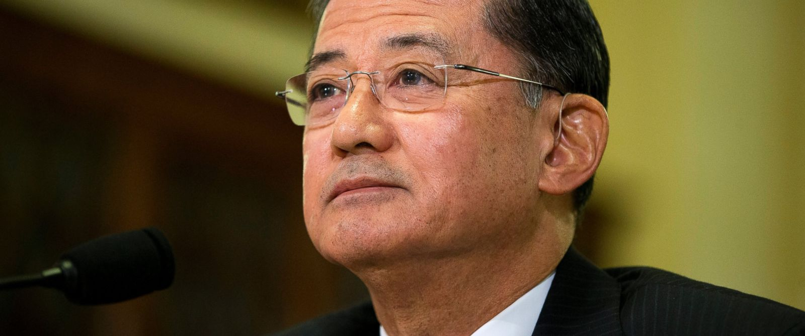 PHOTO: In this Oct. 9, 2013, file photo, Veterans Affairs Secretary Eric Shinseki listens as he testifies on Capitol Hill in Washington.