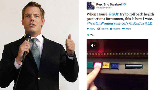 """PHOTO: California Rep. candidate Eric Swalwell speaks during an Alameda County Democratic Lawyers Club endorsement meeting in Oakland, Calif., Sept. 7, 2012. Rep. Swalwell posted a six-second video to Vine that showed him repeatedly pushing the """"Nay"""" butt"""