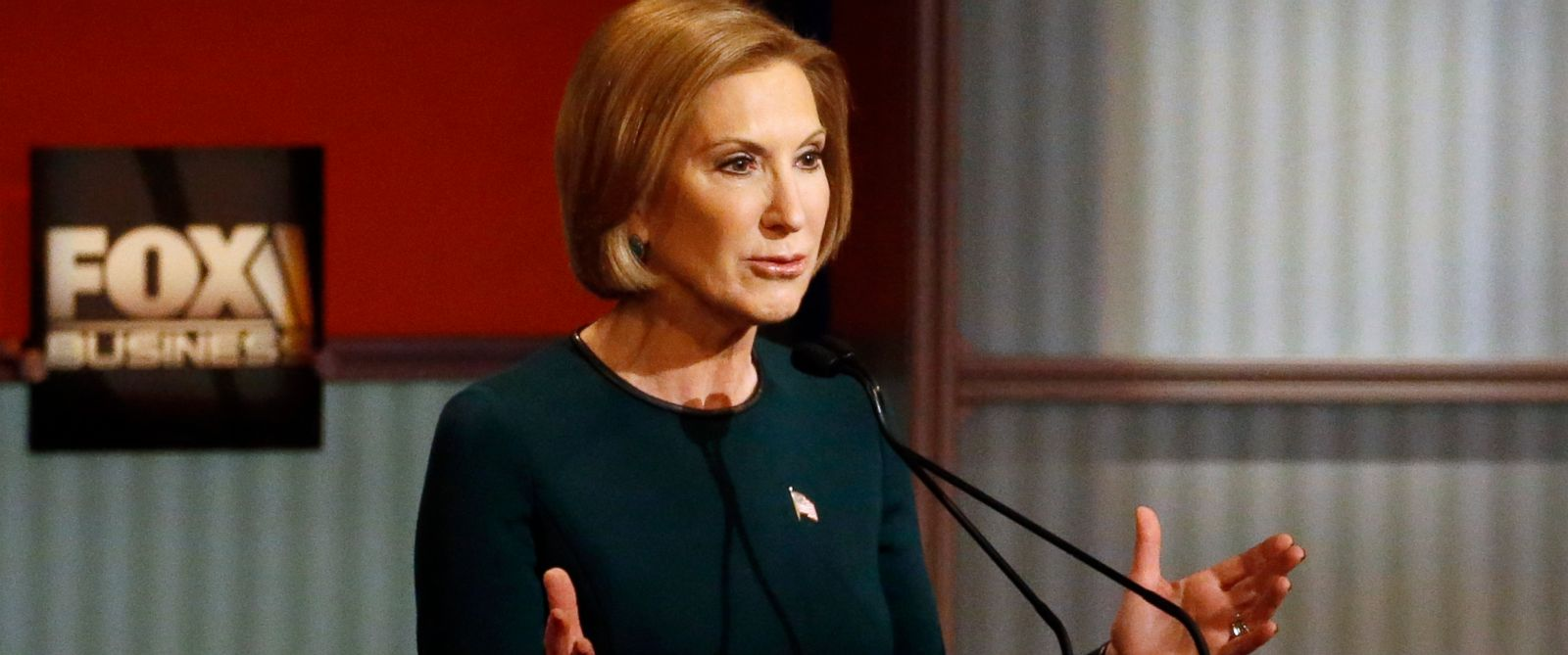 PHOTO: Carly Fiorina speaks during Republican presidential debate at Milwaukee Theatre, Nov. 10, 2015, in Milwaukee.