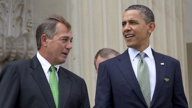 PHOTO:&nbsp;This March 20, 2012 file photo shows House Speaker John Boehner of Ohio and President Barack Obama walk down the steps of the Capitol in Washington.