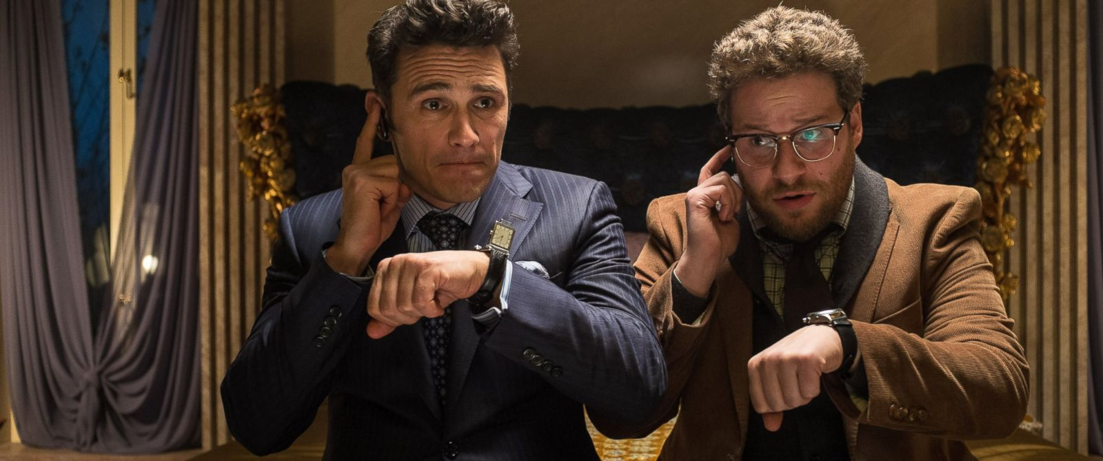 "PHOTO: James Franco, left, and Seth Rogen in a scene from the ""The Interview."""