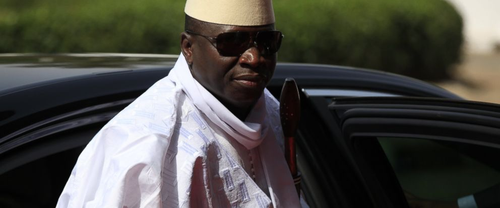 PHOTO: In this Feb. 27, 2014 file photo, Gambias President Yahya Jammeh arrives for a summit to address a seminar on security, Abuja, Nigeria.