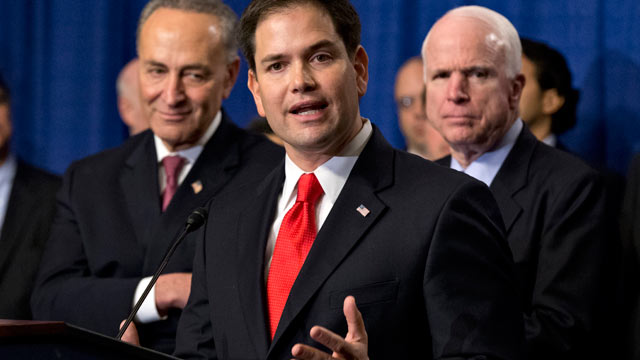 "PHOTO: Sen. Marco Rubio, R-Fla., flanked by Sen. Charles Schumer, D-N.Y., left, and Sen. John McCain, R-Ariz., right, speaks about immigration reform legislation as outlined by the Senate's bipartisan ""Gang of Eight"" that would create a path for the natio"
