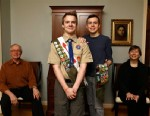PHOTO: Pascal Tessier, 16, center left, a Boy Scout, and his brother Lucien Tessier, 20, pose for a portrait with their parents at their home in Kensington, Md. The two Tessier boys progressed to Boy Scouts as many in their troop became aware that the boy