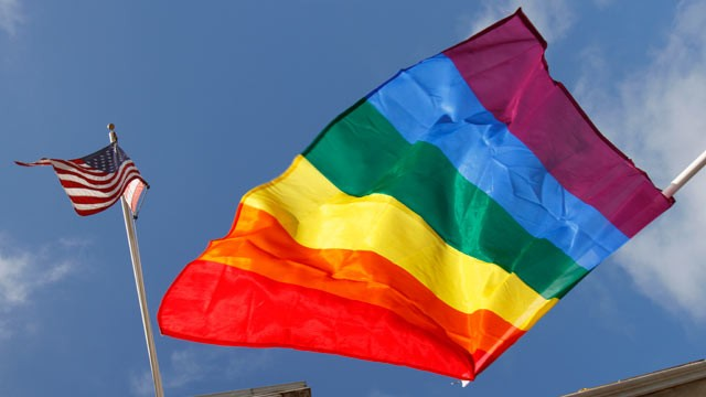 PHOTO: A rainbow flag flies below the American flag outside City Hall in San Francisco, Aug. 12, 2010.