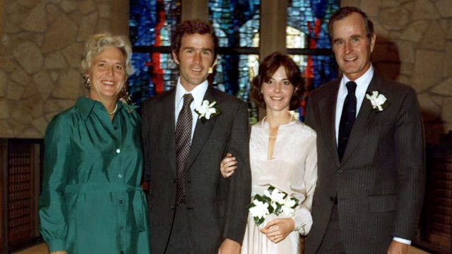 PHOTO: President George W. and Laura Bush pose at their wedding with President and Mrs. Bush on Nov. 5 1977 in Midland, Texas.