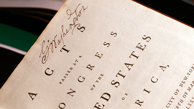 PHOTO: George Washingtons copy of Acts of the first Congress