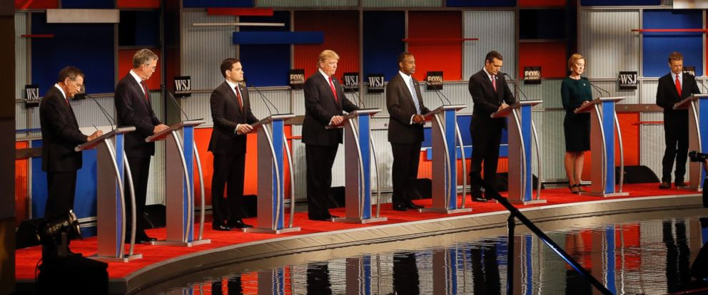 PHOTO: Republican presidential candidates John Kasich, Jeb Bush, Marco Rubio, Donald Trump, Ben Carson, Ted Cruz, Carly Fiorina and Rand Paul take the stage during Republican presidential debate at Milwaukee Theatre, Nov. 10, 2015, in Milwaukee.