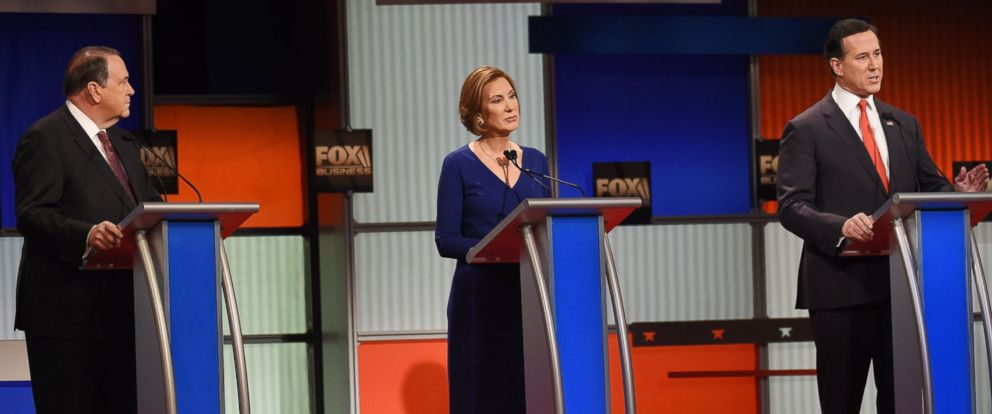 PHOTO: Former Arkansas Gov. Mike Huckabee, former HP CEO Carly Fiorina, and former Pennsylvania Sen. Rick Santorum during the Fox Business Network Republican presidential debate at the North Charleston Coliseum on Jan. 14, 2016, in North Charleston, S.C.
