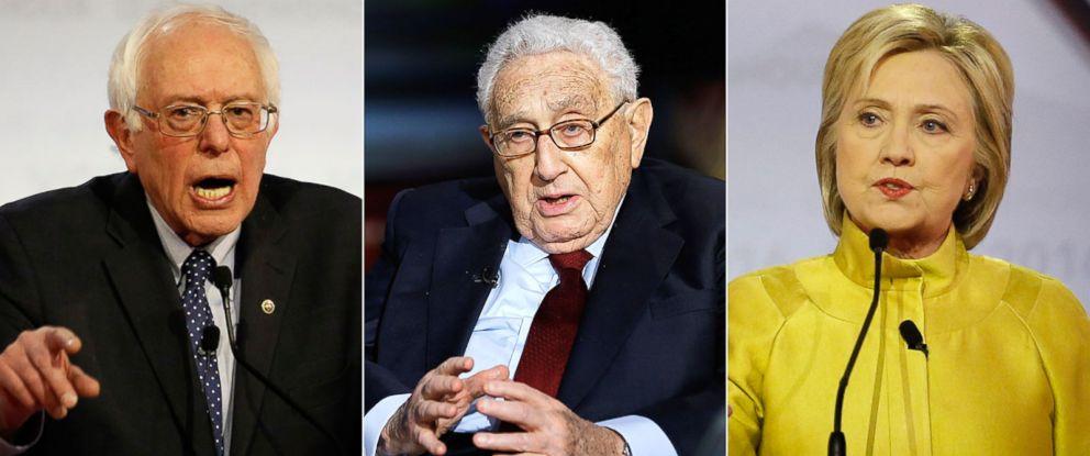 PHOTO: Sen. Bernie Sanders | Henry Kissinger | Hillary Clinton