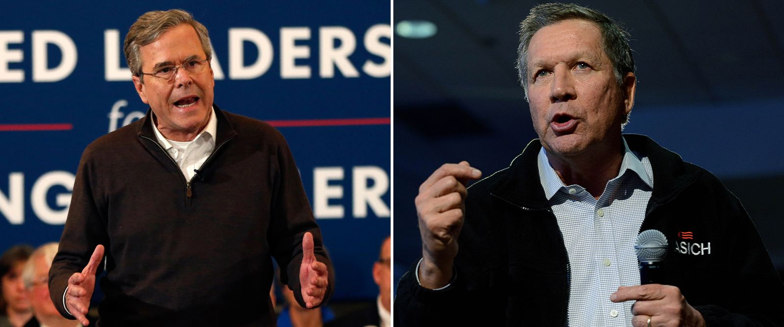 PHOTO: Jeb Bush speaks at an event in Portsmouth, N.H., Feb. 8, 2016 and John Kasich holds a town hall in Concord, N.H. on Feb. 7, 2016.