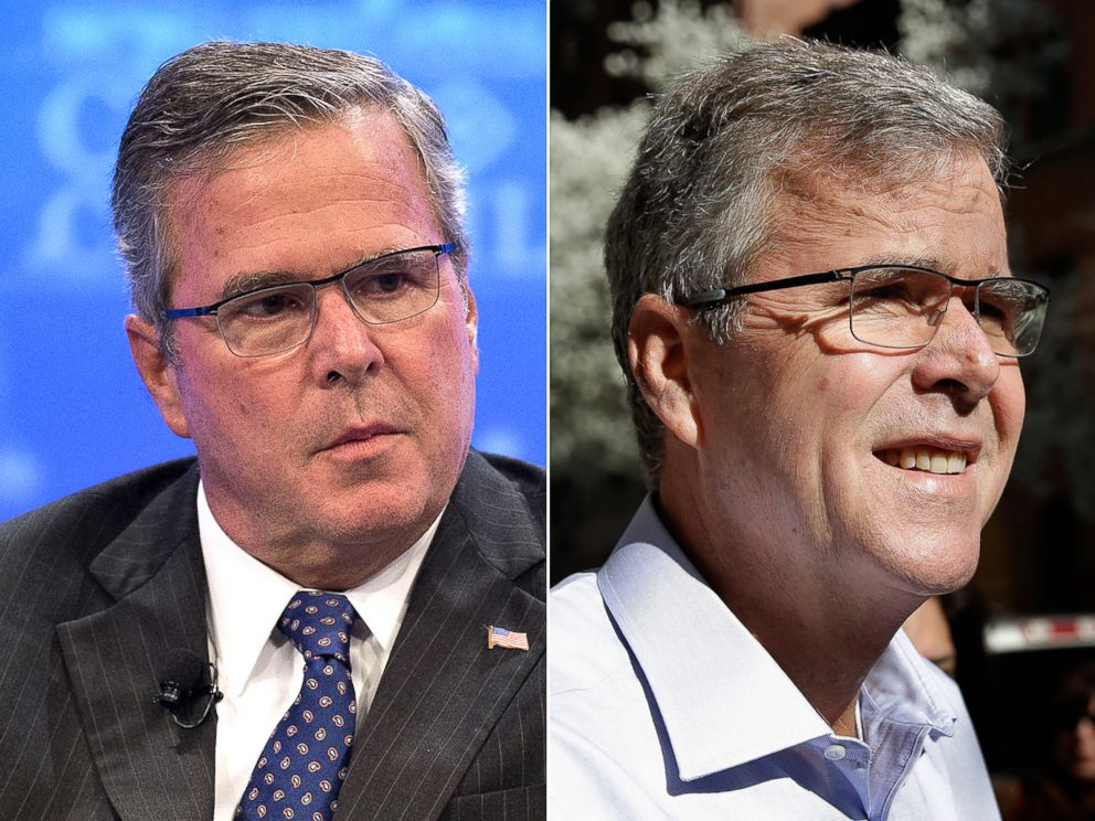 PHOTO: Jeb Bush, left, Dec. 1, 2014 and April 23, 2015. Bush has lost weight using the paleo diet.