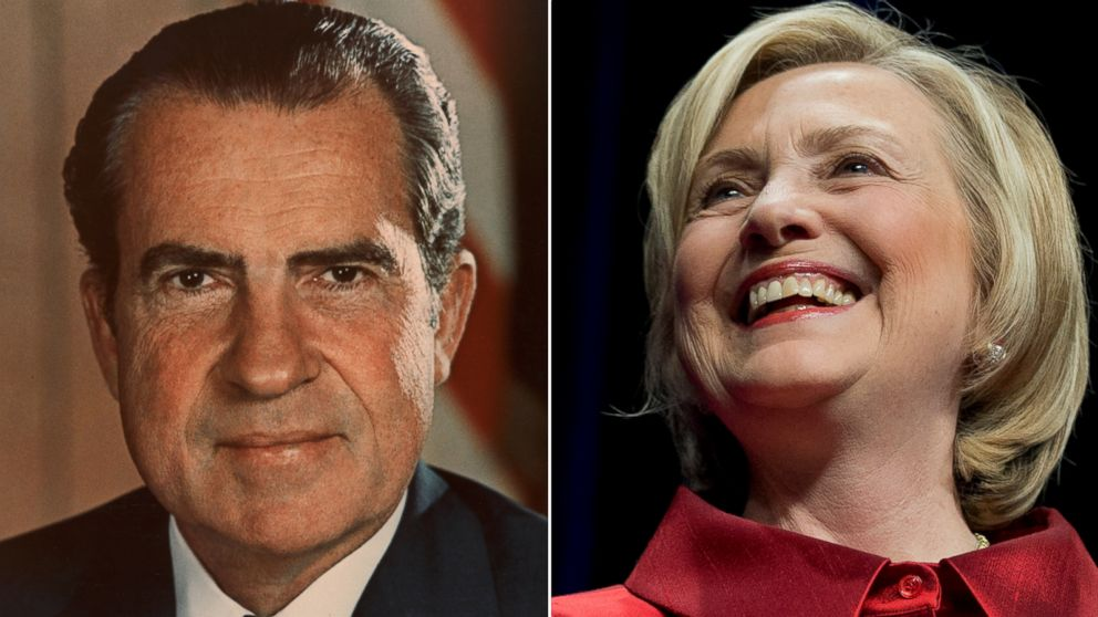 PHOTO: Richard Nixon and Hillary Clinton.