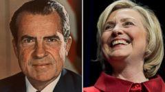 PHOTO: Richard Nixon and Hillary Clinton.