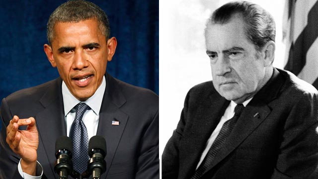 PHOTO: President Barck Obama and Richard Nixon