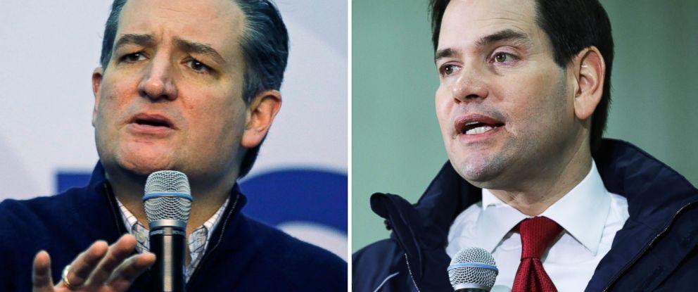 PHOTO: Ted Cruz speaks in Henniker, N.H. and Marco Rubio speaks in Bow, N.H., Feb. 3, 2016.