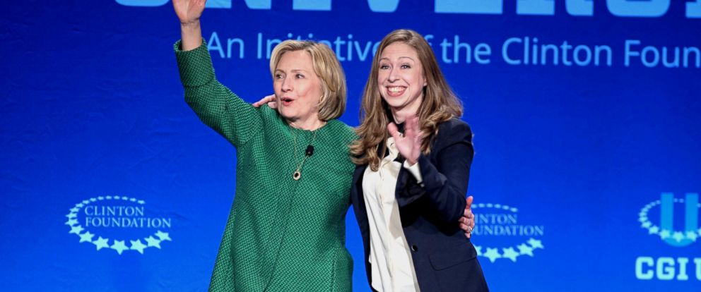PHOTO: Former Secretary of State Hillary Rodham Clinton, left, and Chelsea Clinton wave at a university conference sponsored by their Clinton Global Initiative at the University of Miami, Saturday, March 7, 2015, in Coral Gables, Fla.