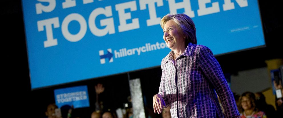 PHOTO: Democratic presidential candidate Hillary Clinton arrives at a Democratic party organizing event at the Neighborhood Theater in Charlotte, North Carolina, July 25, 2016.