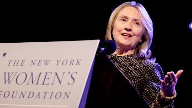 PHOTO: Secretary of State Hillary Rodham Clinton delivers the keynote address to the New York Women's Foundation breakfast in New York on May 10, 2012.