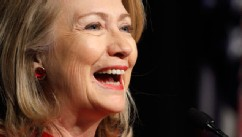 PHOTO: In this Feb. 14, 2013 file photo, former Secretary of State Hillary Rodham Clinton laughs as she gives a speech during a ceremony honoring her at the Pentagon in Washington DC.