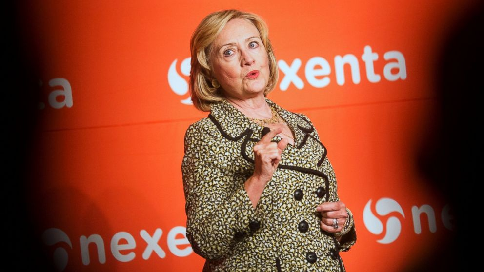 PHOTO: Former Secretary of State Hillary Rodham Clinton speaks at the Nexenta OpenSDx Summit, Aug. 28, 2014, in San Francisco.
