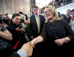 PHOTO: Secretary of State Hillary Rodham Clinton bids farewell to State Department employees at the State Department in Washington, Feb. 1, 2103, before departing the State Department for the final time as secretary of state.