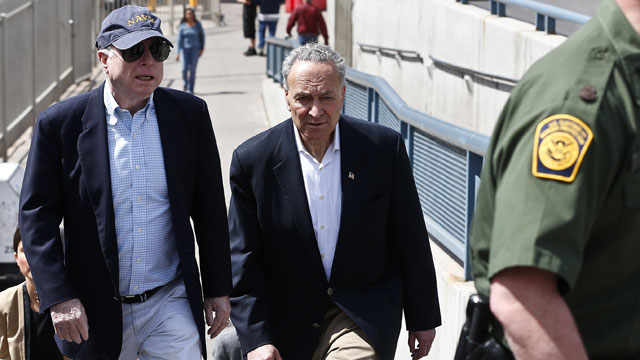 PHOTO: U.S. Sen. John McCain, R-Ariz., left, and Sen. Chuck Schumer, D-N.Y., tour the Nogales port of entry during their tour of the Mexico border with the United States on Wednesday, March 27, 2013, in