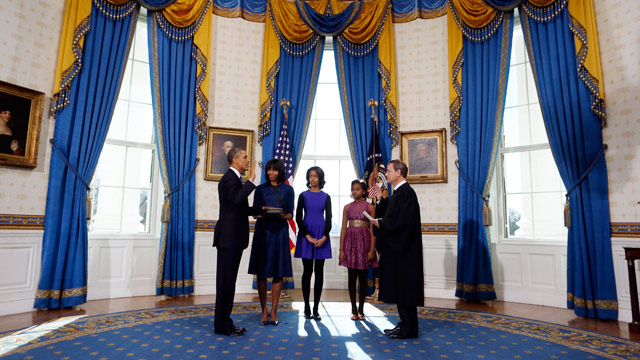 PHOTO: President Barack Obama is officially sworn-in by Chief Justice John Roberts in the Blue Room of the White House during the 57th Presidential Inauguration in Washington, Sunday, Jan. 20, 2013.