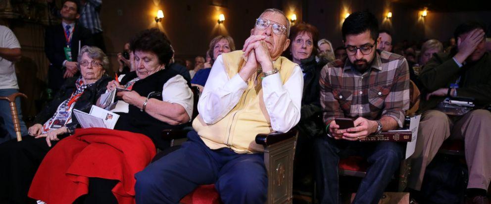 PHOTO: Howard F. Garton of West Bend, Iowa, listens to Donald Trump speak during the Freedom Summit, Saturday, Jan. 24, 2015, in Des Moines, Iowa.