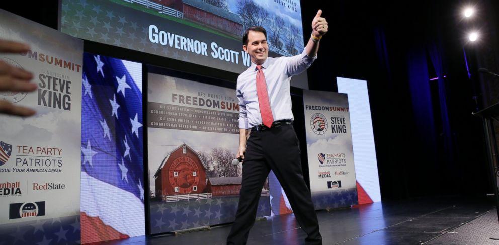 PHOTO: Wisconsin Gov. Scott Walker gestures after speaking at the Freedom Summit, Saturday, Jan. 24, 2015, in Des Moines, Iowa.