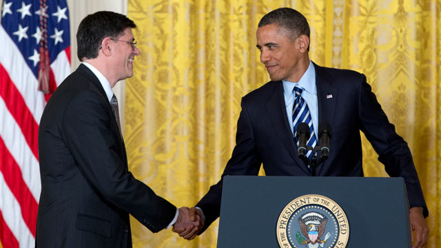 PHOTO: President Barack Obama shakes hands with current White House Chief of Staff Jack Lew in the East Room of the White House in Washington, Jan. 10, 2013, where he announced that he will nominate Lew as the next Treasury Secretary.
