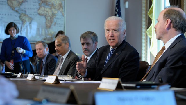PHOTO: Vice President Joe Biden, second from right, gestures as he speaks during a meeting with Sportsmen and Women and Wildlife Interest Groups and member of his cabinet, Jan. 10, 2013, in Washington.